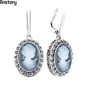 Lady Queen Cameo Earrings For Women Snail Pendant Vintage Earrings Antique Silver Plated Fashion Jewelry