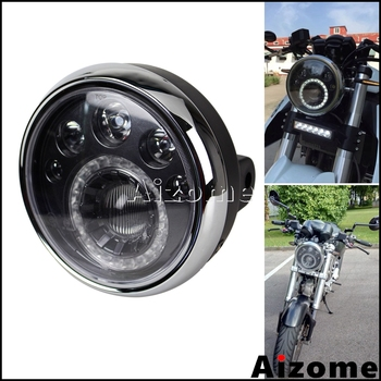 Evrensel Motosiklet LED Far Harley Softail Dyna Chopper Cafe Racer Cruiser Streetbikerdan Özel E4 Yuvarlak Far 7""